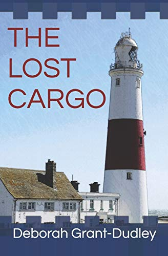The cover of The Lost Cargo features a white and red lighthouse against a blue sky.