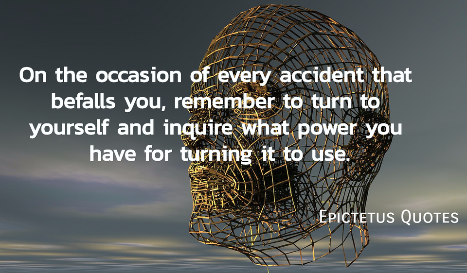 on the occasion of every accident that befalls you remember to turn to yourself and...