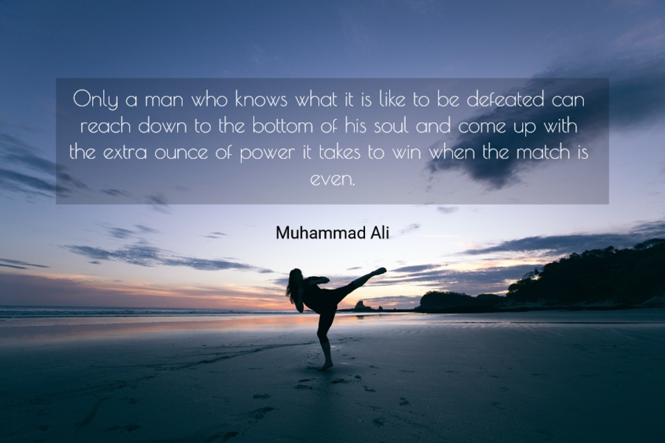 only a man who knows what it is like to be defeated can reach down to the bottom of his...