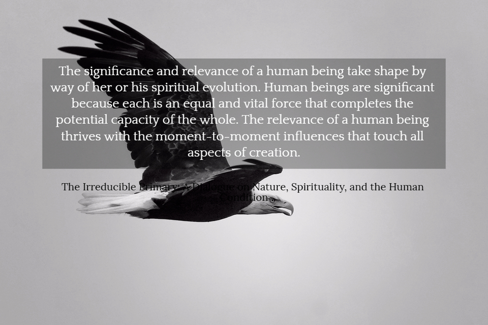 the significance and relevance of a human being take shape by way of her or his spiritual...
