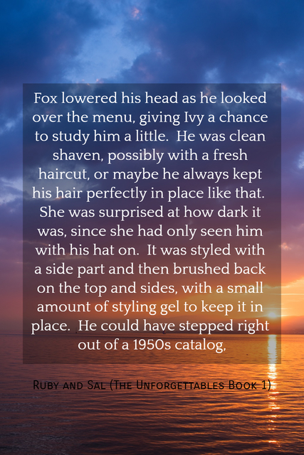 fox lowered his head as he looked over the menu giving ivy a chance to study him a...