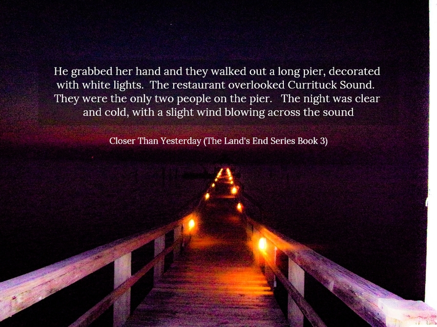 he grabbed her hand and they walked out a long pier decorated with white lights the...