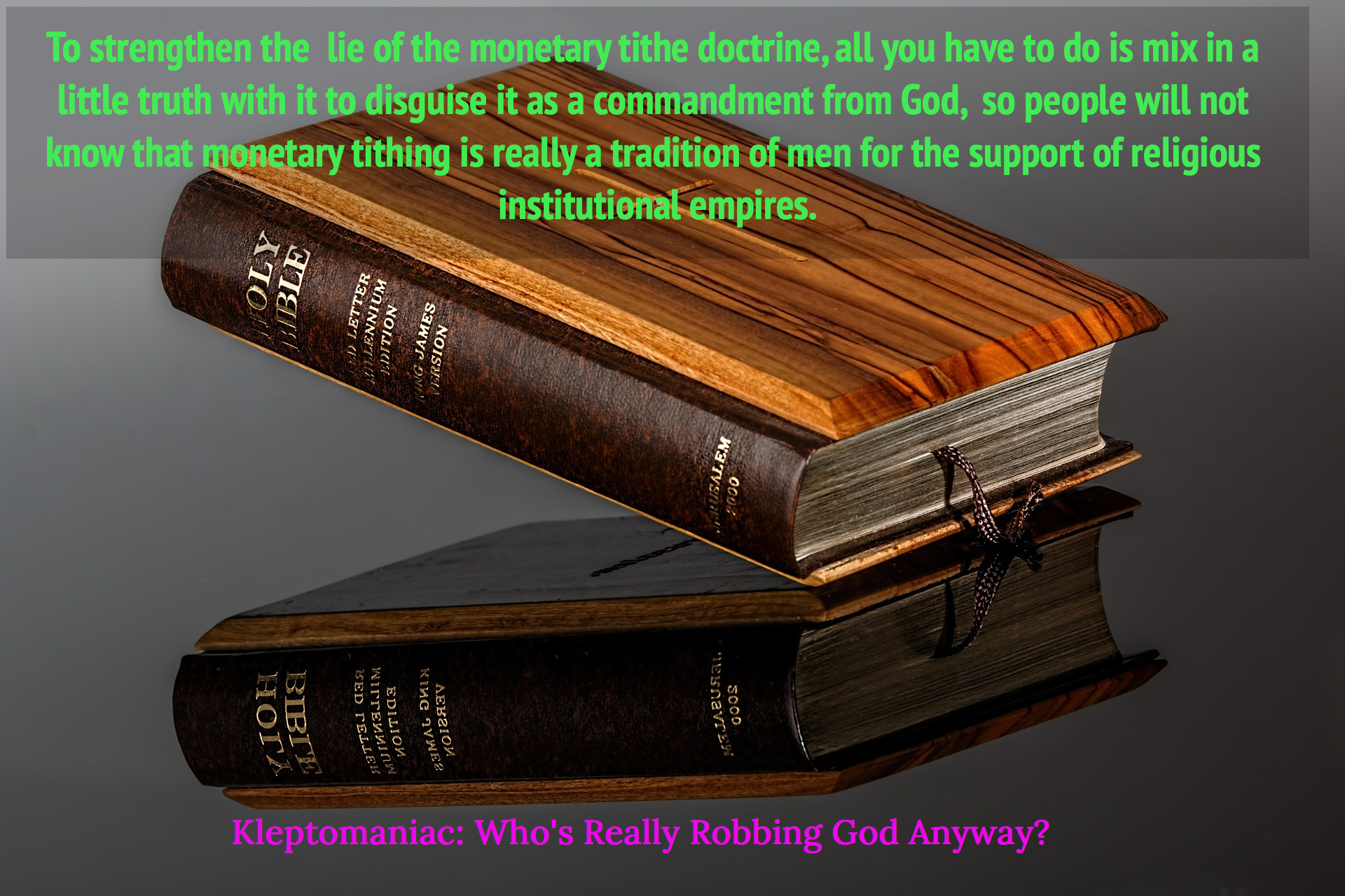 to strengthen the lie of the monetary tithe doctrine all you have to do is mix in a...