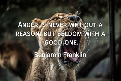anger is never without a reason but seldom with a good one...