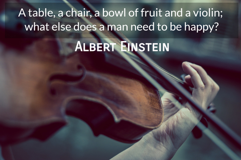 a table a chair a bowl of fruit and a violin what else does a man need to be happy...