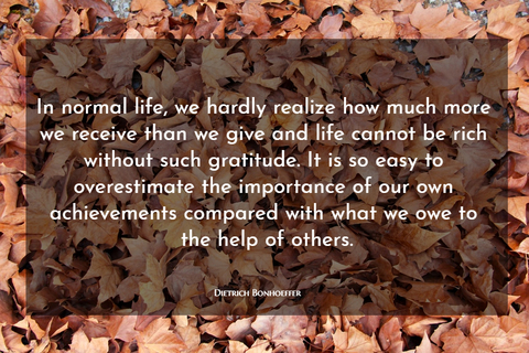 in normal life we hardly realize how much more we receive than we give and life cannot be...