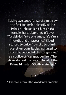taking two steps forward she threw the first tangerine directly at the prime minister...