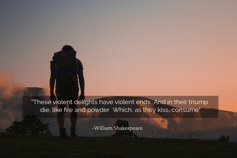these violent delights have violent ends and in their triump die like fire and powder...