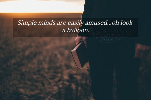 simple minds are easily amused oh look a balloon...