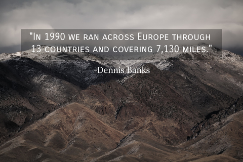 in 1990 we ran across europe through 13 countries and covering 7130 miles...