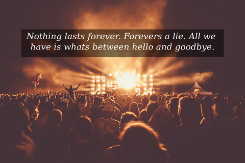 nothing lasts forever forevers a lie all we have is whats between hello and goodbye...