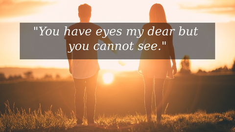 you have eyes my dear but you cannot see...