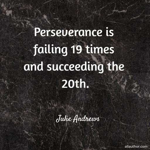 perseverance is failing 19 times and succeeding the 20th...