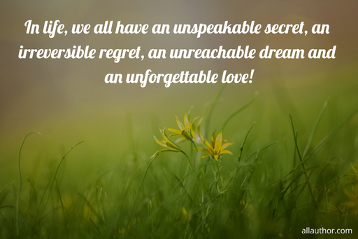 in life we all have an unspeakable secret an irreversible regret an unreachable dream...