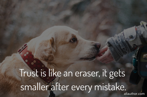 trust is like an eraser it gets smaller after every mistake...