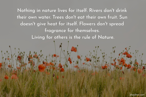 nothing in nature lives for itself rivers dont drink their own water trees dont eat...