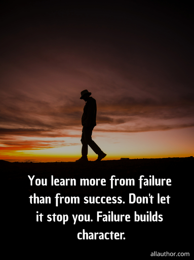 you learn more from failure than from success dont let it stop you failure builds...