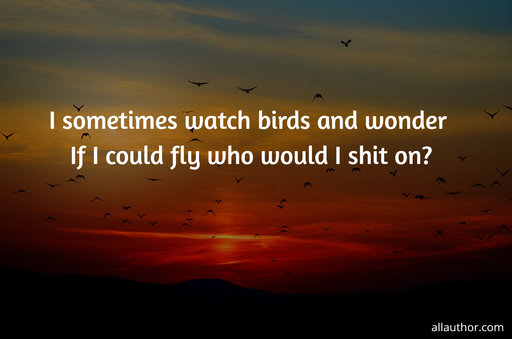 i sometimes watch birds and wonder if i could fly who would i shit on...