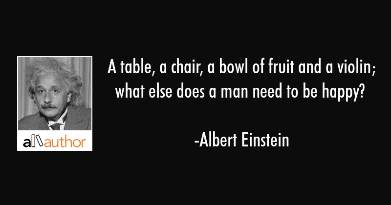 a table a chair a bowl of fruit and a quote