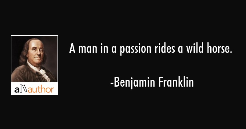 A man in a passion rides a wild horse. - Quote
