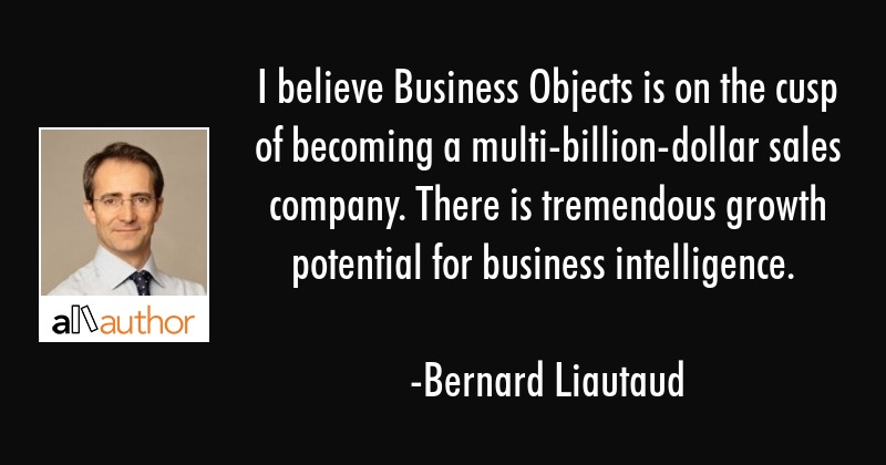 I believe Business Objects is on the cusp of    - Quote